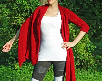Red One Sleeved Shawl Unique Asymmetrical Top Sweater Women chic jacket  Shawl  Jacket  Red shawl