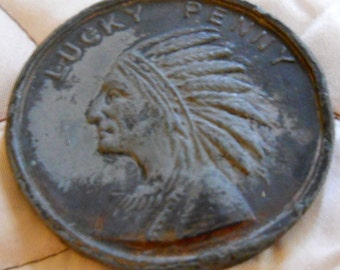 Large Lucky Penny Indian Head - Fort Dearborn - 1833- 1933 Century of Progress - Chicago World's Fair - Souvenir Coin - Metal Copper Iron