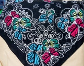 Black floral and butterflies - Western Bandana Scarves-- cotton fabric - with velcro closure