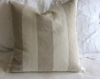 French Laundry linen pillow cover off white-natural linen color Stripes 20x20