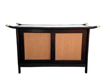 1950s Rattan Pagoda Buffet Credenza Cabinet