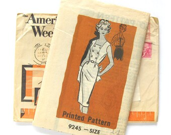 Uncut Vintage Sewing Pattern 1950s 1960s Pattern Jacket Buttons to Dress / Mail Order Pattern 9245 / Size 14 UNCUT FF