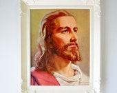 1950s vintage Peter V. Bianchi print of Jesus framed in vintage white plastic frame