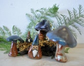 Handmade Clay Toadstool Mushrooms and  little Gnomes--enchanted forest