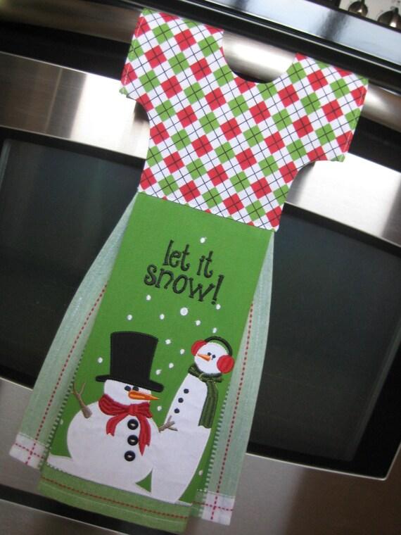 Dish Towel Dress for Oven Door - Let It Snow