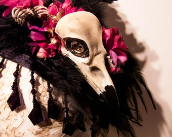 Ragged Fake Crow Skull and Wings Fascinator Hair Band. Faux Taxidermy Hat.