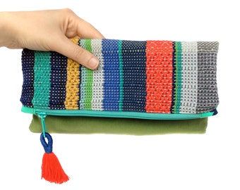 Leigh | Woven Striped Envelope Clutch | Handwoven Modern Striped Purse | Vibrant Women's Fashion Accessories | Woven Fold Over Clutch