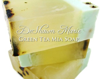 SALE SOAP - Green Tea Mia Soap, Handmade Soap, Vegan Soap, Green Tea Soap, Soap Gift, Christmas Gift, Birthday Gift, Mother's Day Gift