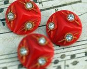 Antique, Retro, Vintage Buttons, Red With Rhinestones for Special Sewing or Crafting #2
