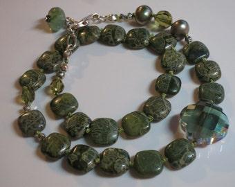 Green Jasper Wrap Bracelet