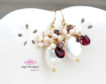 Ruby color Paola Earrings  - fresh earrings with big Fresh water Pearls and Garnet