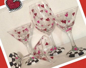 Valentine Wine Glass // Valentine Martini Glass // Valentine Glassware
