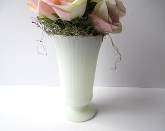 Vintage EO Brody Milk Glass Ribbed Footed Vase