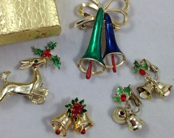 Wonderful Collection of Vintage Christmas Jewelry, Christmas Bells Pin, Rudolf the Red Nose Reindeer Pin, Christmas Bells Earrings
