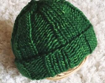 Forrest Green Newborn Beanie, Winter Baby Hat