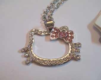 Rhinestone Hello Kitty Face or Body Necklace Womens Jewelry