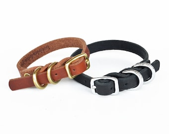 Dainty Dog Collar -- a braided leather collar for small breeds with two d-rings  in black or tan