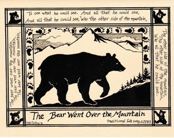 The Bear Went Over the Mountain: 6-pack of notecards with envelopes designed and printed by LC DeVona from her Illustrated Songs' series.
