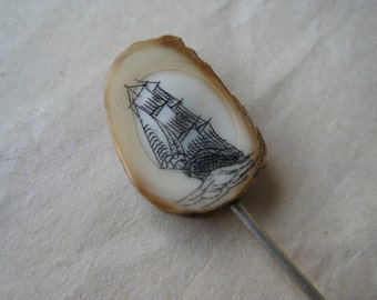 Scrimshaw Ship Boat Stick Pin Vintage Silver Antler