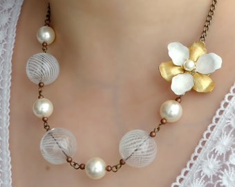 Blanc Necklace - gold and white vintage flower blown glass and pearl beaded necklace