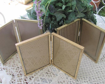 Collection Lot of 3  Retro Vintage Gold Metal  Picture Frames, 3  5 x 7 Double Frames