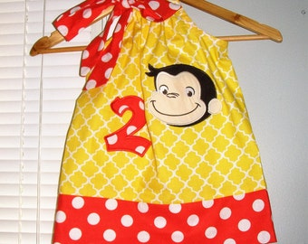 Curious George Birthday Dress RED dots  yellow  applique pillowcase dress 3 6,9,12 18 month 2t, 3t,4t 5t,6,7,8,10