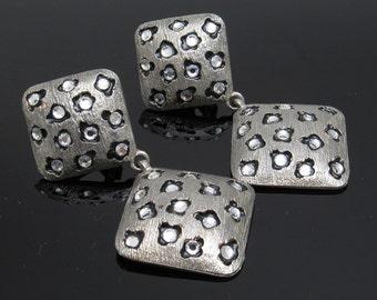 Vintage Rhinestone Earrings Long Craft Jewelry E4121