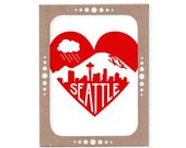 Set of Six Seattle Heart Cards -- Mount Rainier, Rain Cloud and Skyline