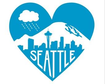"Blue Seattle Heart -- Limited Edition 12 x 12"" Screenprint"