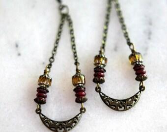 Boho Earrings, Antiqued Brass Filigree, Long Dangles, Red, Golden Yellow, Bohemian Crescent Moon