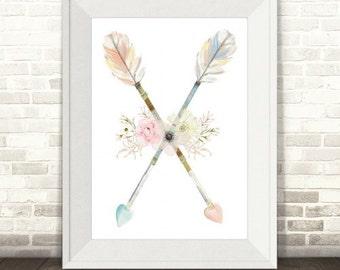 Boho Arrows and Flowers Print, Girls Boho Print, Boho Nursery Print, Boho Feather Print