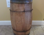 Very nice old rustic wood nail keg with metal strapping- solid, fully functional, great home decor