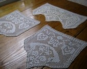 Antique Antimacassar Set, Flowers & Hearts Crochet, 2 Arm and 1 Headrest Cover, Crochet Armcover, Vintage Antimacassar Set, Crochet Decor