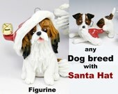Dog Breed Christmas Ornament Figurine with Santa Hat Made to Order Porcelain
