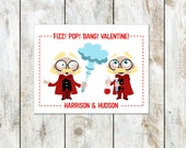 Twin Mad Scientists Valentine and Girl Mad Scientist Printed Valentines