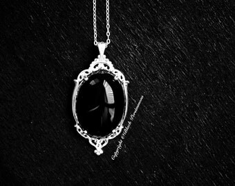 Thyra Black Onyx Gothic Necklace - Solid 925 - 25x18mm - Genuine Auspicious Feng Shui Protective Symbol Gemstone - Insurance Included