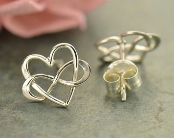 Sterling Silver Infinity Heart Post Earrings - Solid 925 - Insurance Included
