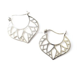 Sterling Silver Egyptian Hoop Earrings with Inset Lotus Petal Design - Solid 925 - Feng Shui Lian Hua - Insurance Included