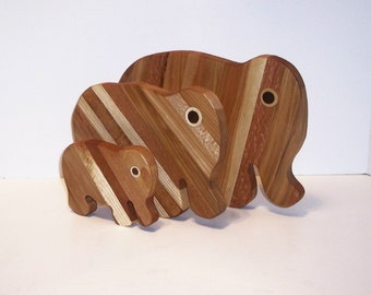 3 Elephant set of Cutting / Cheese Boards Handcrafted from Mixed Hardwoods