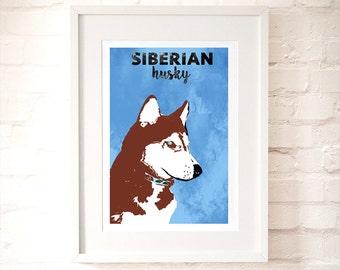 Red Siberian Husky Dog Sihouette  - Fine art print, red siberian, pet sitter gift, vet gift
