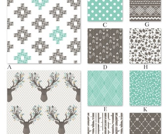 Woodland Boy Mint and Gray Crib and Baby Bedding - Woodland in Succulent