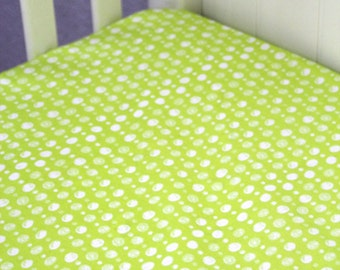 Organic Fitted Crib Sheet in Lime Green Dot,  Ready to Ship