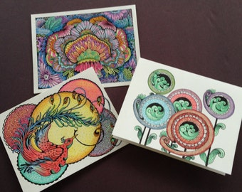 Art Cards with Original Pen and Ink Colored Pencil Whimsical Drawings
