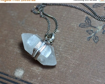 On Sale Quartz Point Necklace ~ Raw Quartz Crystal Necklace ~ Crystal Pendant Necklace ~ Antiqued Silver Wire Wrapped Rustic Jewelry