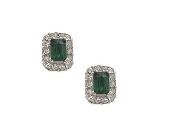Emerald Art Deco Earrings, Antique 1920s Rhinestone Earrings, Emerald Crystal Screw Backs, Fine Vintage Wedding Jewelry