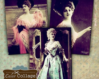 Burlesque Actress Digital Collage Sheet 2.5x3.5 ATC Size Arlette Dorgere Images Gift Tags Mini Cards Jewelry Cards Altered Art Supplies