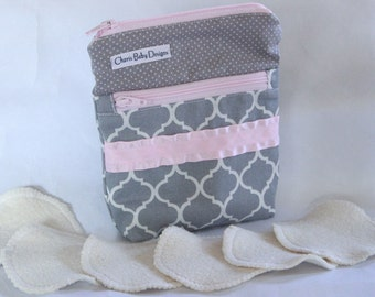 One wet dry wetbag and/or 6hemp fleece,cotton,cloth, makeup remover pads,3 inch ,make up pads/pink and grey