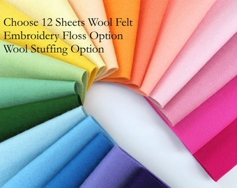 Wool Felt Sheets, Choose TWELVE, Note choice of colors upon checkout, 1mm thick, Felt Assortment, Pure Wool, Applique, DMC Floss, Stuffing