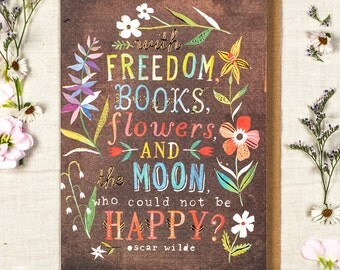 Flowers and The Moon Greeting Card
