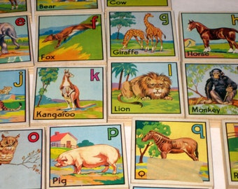 26 Vintage Victory Alphabet and  Animal Blocks for Altered Art, Assemblage, Collecting, etc.